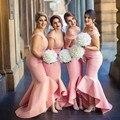 Babados de Renda Alta Baixa Longo Da Dama de honra Vestidos Sexy Off The ombro Baratos 2017 vestido de festa de casamento Partido Júnior vestidos