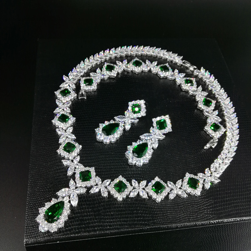 2019 new fashion luxury retro green water drop zircon necklace earringset,wedding bride dinner party dress jewelry free shipping2019 new fashion luxury retro green water drop zircon necklace earringset,wedding bride dinner party dress jewelry free shipping