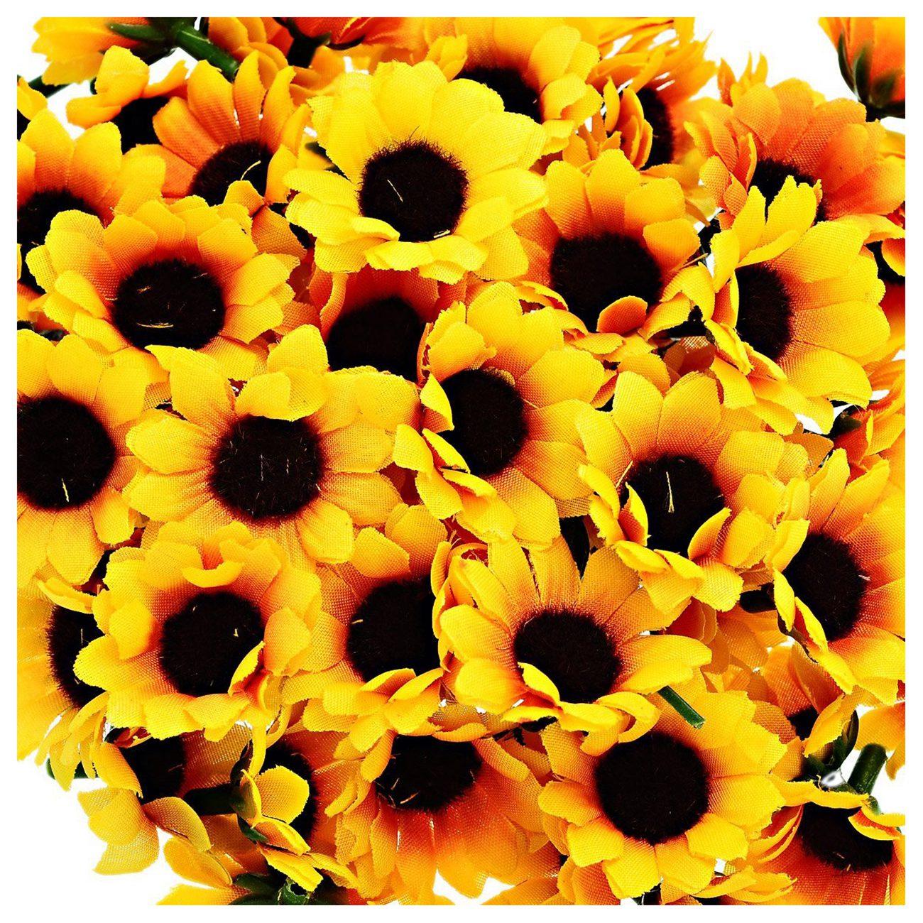 Feines Handwerk gelb & Kaffee Praktische Boutique 100 Stücke Künstliche Sonnenblumen Kleine Daisy Gerbera Blume Köpfe Für Hochzeitsfest-dekor