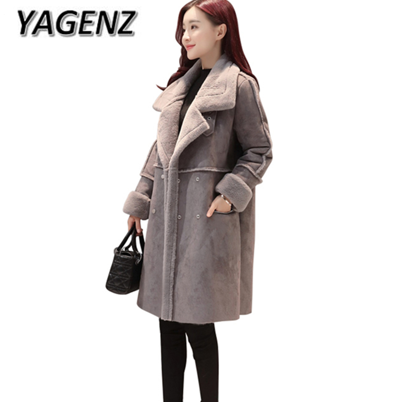 YAGENZ Double-breasted Winter Jacket Women Warm Coat Winter Korean Thick Warm Solid Suede Lamb Wool Overcoat Cotton Long Jacket qazxsw 2017 new winter cotton coat women long parkas thick velvet double breasted lamb winter jacket women suede jackets hb321
