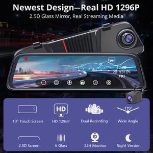 "Image 2 - Junsun H16 New Tech 2.5D FHD 1296P Stream Media RearView Mirror DVR Dual lens Dash Camera 10"" IPS Night Vision Parking Monitor"