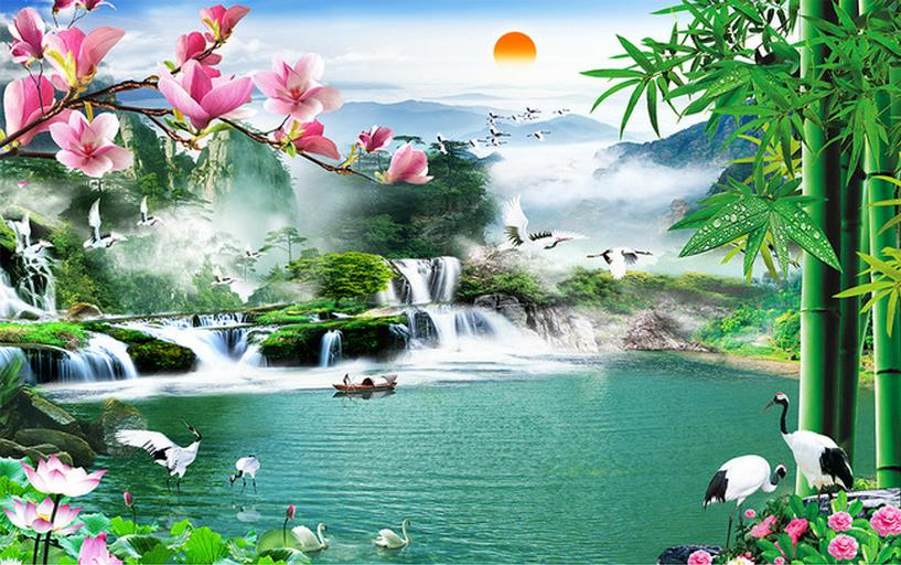 Chinese Wallpaper 3D Waterfall Landscape Wallpaper For