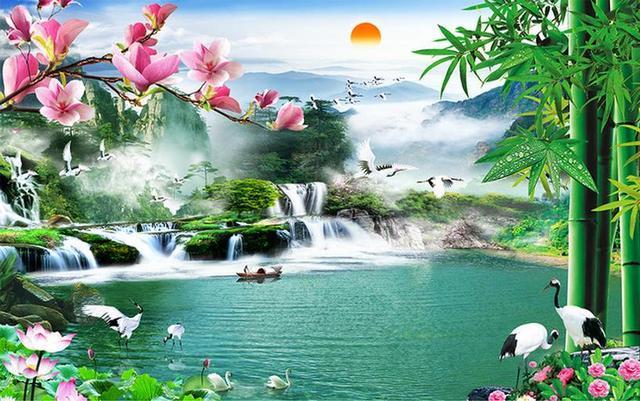 Chinese Wallpaper 3d Waterfall Landscape Wallpaper For Walls