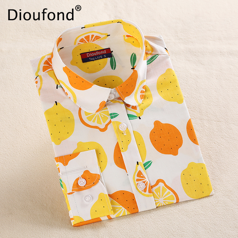 Dioufond Women Cotton Blouses Summer Cute Lemon Bird Print Long