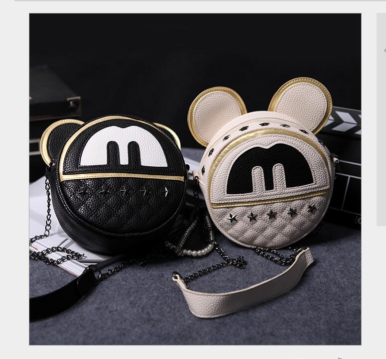 2017 Mickey shoulder bag 2016 new Female bag Quality pu leather Women bag Mickey ears Sweet girl bow College Wind Travel