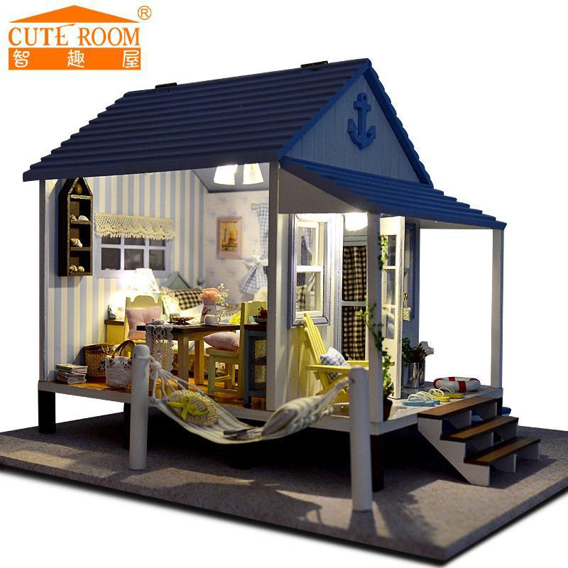 Diy Big Doll House Happy Coast Miniature Wooden Building Model
