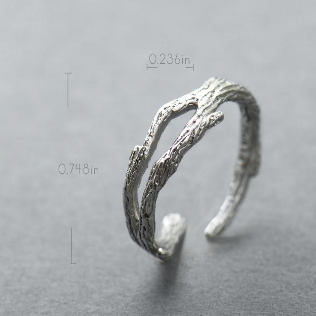 White Cherry Blossom Flower Silver Branch Rings