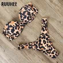 RUUHEE Bikini Costumi Da Bagno Delle Donne del Costume Da Bagno 2020 Leopard Brasiliano Bikini Set Push Up Costume Da Bagno Femminile Spiaggia di Estate di Usura Biquini(China)