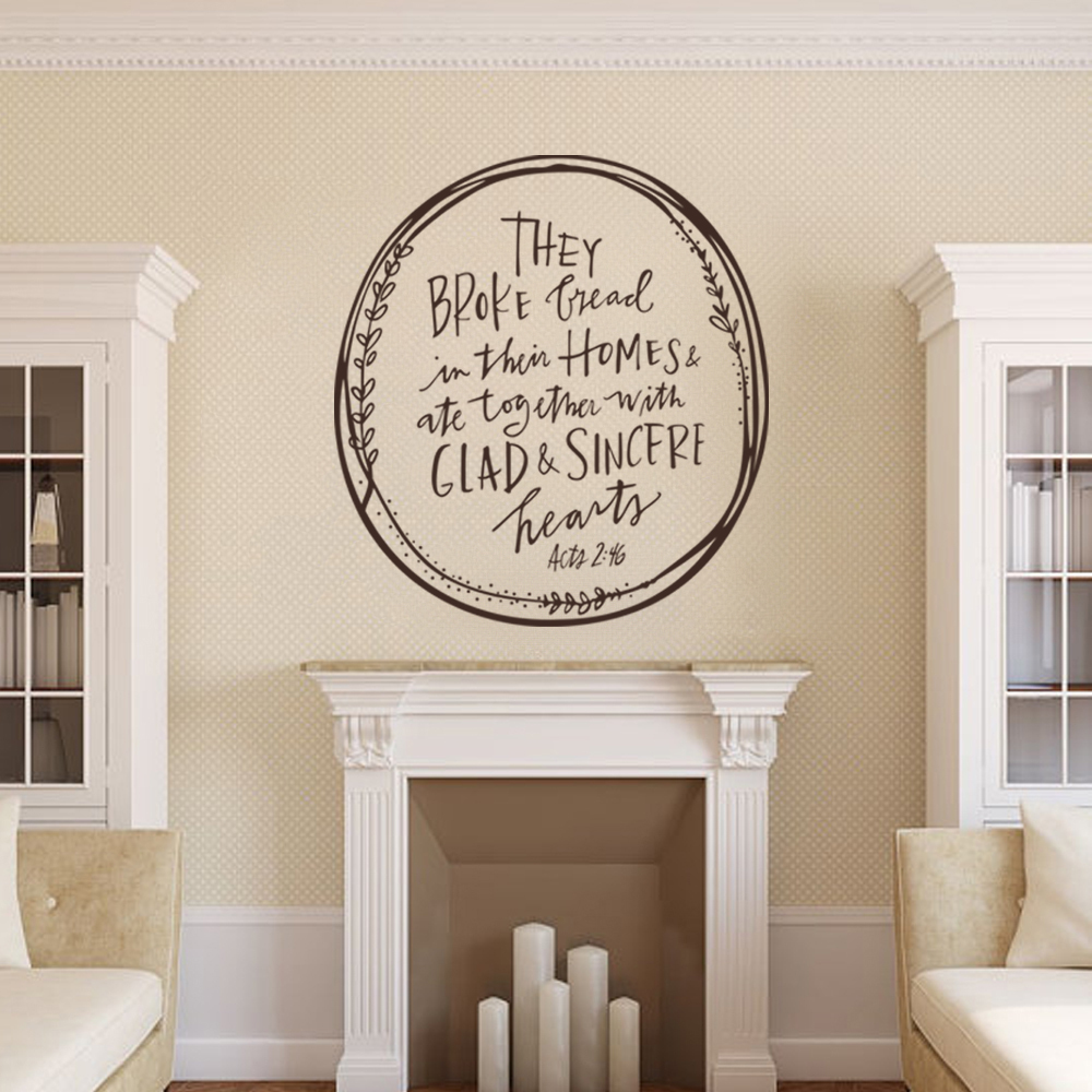 bible verse sticker they broke bread in their homes acts 2 With kitchen colors with white cabinets with bible verses wall art