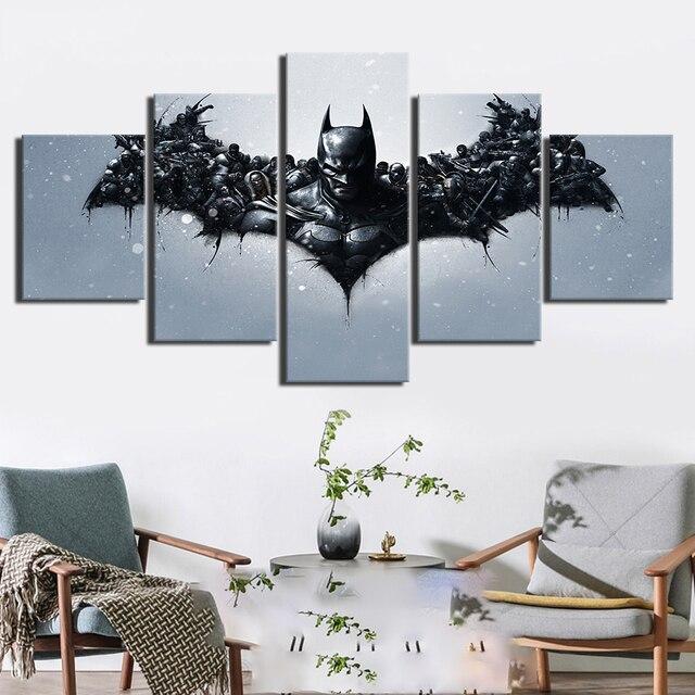 NGHỆ THUẬT Treo Tường Tranh In Canvas 5 Miếng Batman Forrest Gump Phim Hình In Trang Trí Nhà Poster Cho Phòng Khách Mô Đun Khung
