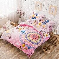 3D Bohemian Boho Style màu hồng bướm giường đặt cô gái xanh Purple Butterfly phim hoạt hình mèo in hươu cao cổ Duvet Cover Bed Linen