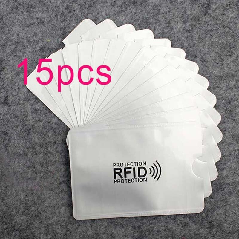 15 Stücke Anti Rfid Brieftasche Blockieren Reader Sperren Bank Karte Halter Id Bank Karte Fall Schutz Metall Kreditkarte Halter Aluminium