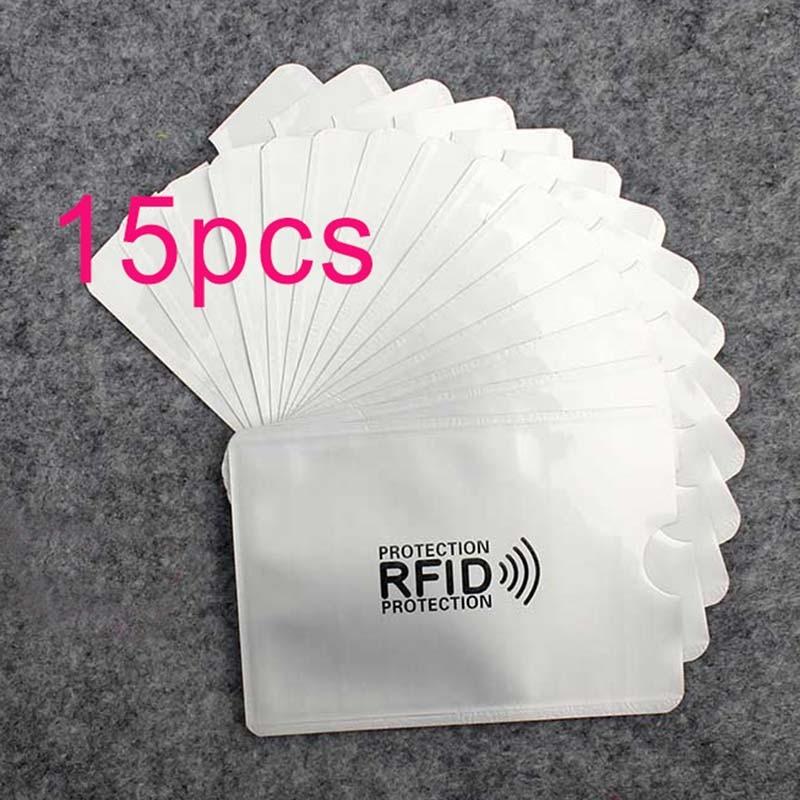 15pcs Anti Rfid Wallet Blocking Reader Lock Bank Card Holder Id Bank Card Case Protection Metal Credit Card Holder Aluminium