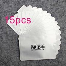 15 шт. Анти Rfid кошелек блокировки Reader замок банк держатель для карт Id банковской карты защиты корпуса Металл кредитной держатель для карт алюминия