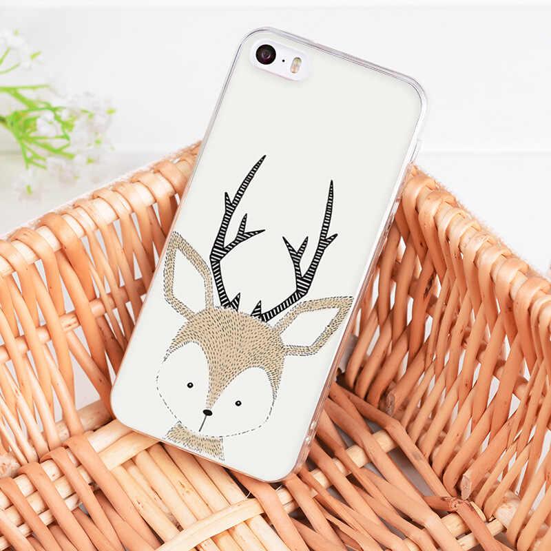 Iphone 7 6 × XR ため MaiYaCa XS 最大素敵な鹿漫画の動物フォックス鹿ハリネズミ電話ケース iphone 8 7 6 6S プラス 5S 、 SE
