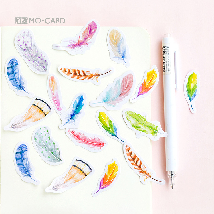 Feather Collection Stickers Set Decorative Stationery Stickers Scrapbooking DIY Diary Album Stick Lable