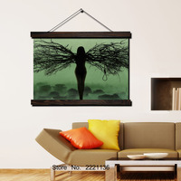 Black Tree Girl Nude Angel Scroll Painting Modern Home Framed Hanging Wall Decoration Artworks in High Definition Print Poster