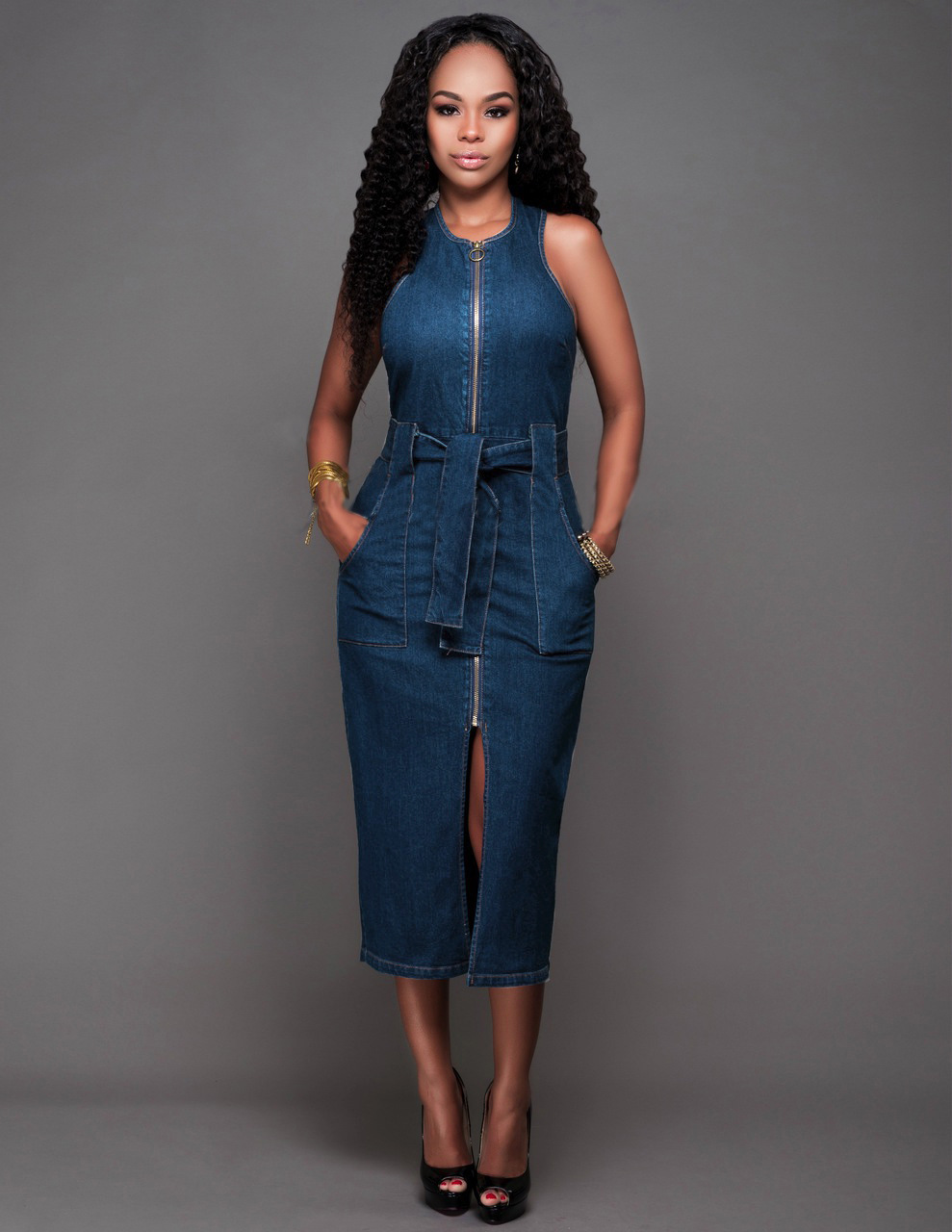 2018 Women Sleeveless Jeans Casual Slim Blue Jeans Sexy Bodycon Sashes Long Dresses Zipper Pockets Denim Dress Vestido Plus Size