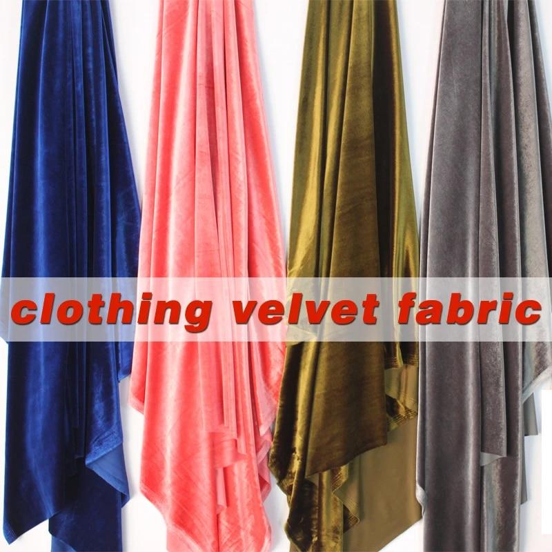 NAVY LUXURY Silky Velvet Velour Fabric Material
