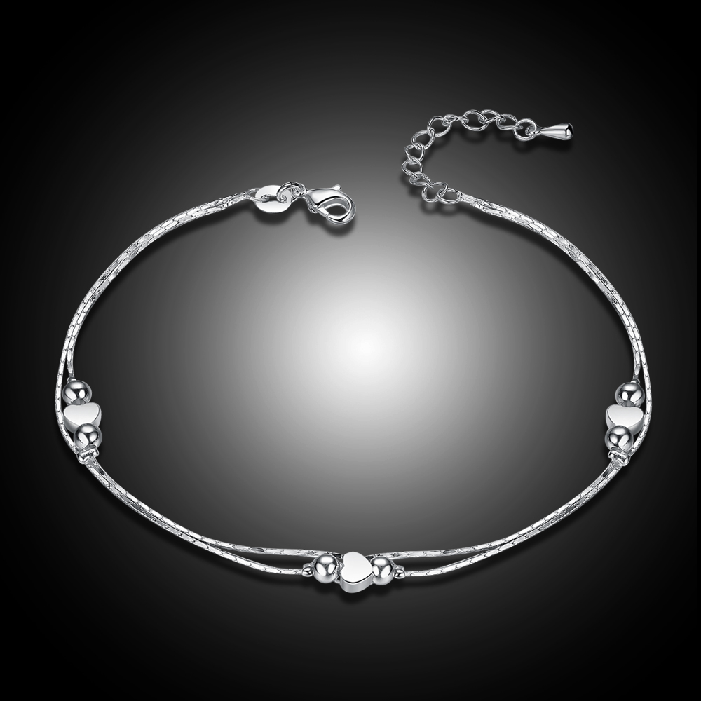 Fashion New 925 Sterling Silver Heart Women Chain Ankle Bracelet Sandal Beach Foot Anklet Gift 1PC Free Shipping 5