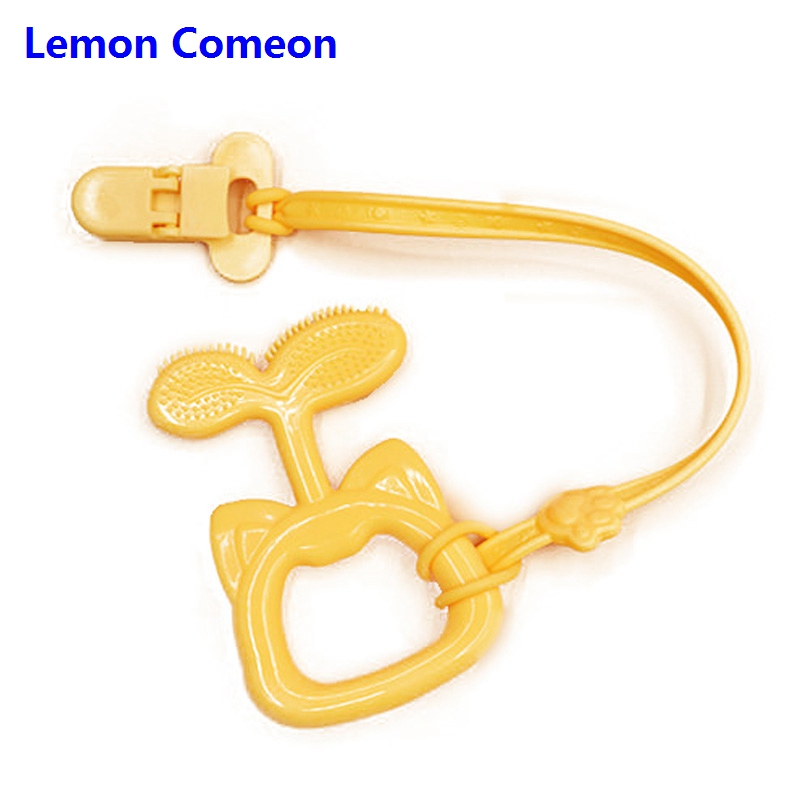 Lemon Comeon 5PCS Silicone Baby Teether Toddler Pacifier Chain Accessories Teething Rings Toy Food Grade Chew Products