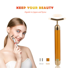 Beauty Bar 24k Golden Pulse Facial Massager Waterproof Roller Electric T-Shap Face Massage Skin Tightening Tool