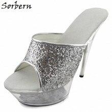 Sorbern Women Platform 2018 Plus Size Ladies Party Slipper Summer Shoes Clear Heels Sequined 15CM Heels Slippers Women Slipper