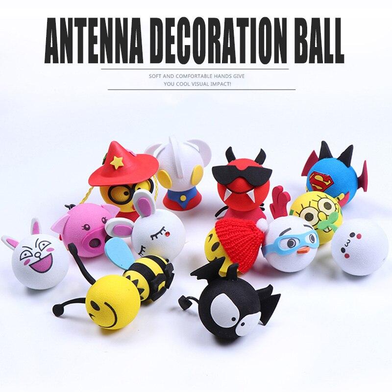 22 Styles Universal Panda/ Vampire Car Styling Cute Cartoon Doll Antenna Balls Plush EVA Foam Aerial Toy Car Roof Decoration