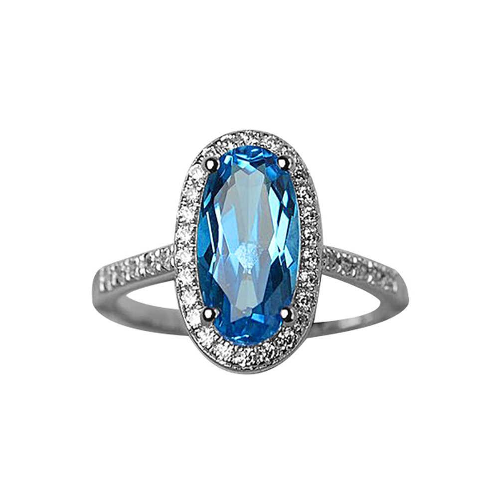 Модные женские Овальные искусственные топазы обручальное кольцо вечерние для вечеринок украшения подарок оптовая продажа