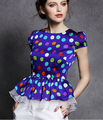 Free Shipping High Quality Western Style Summer New Arrival Puff Sleeve Dots Printed Ou Gensha Woman Blouse Blue