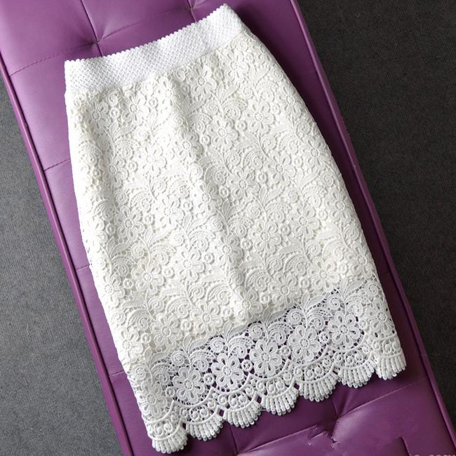 Plus Size 3XL ! Lace Package Hip Skirt High Waist Hollow Out Skirt Career Step Skirts Women