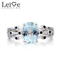 טבעת אירוסין טבעת תרשיש טבעי תכשיטי Leige מרץ אבן המזל סגלגל Cut כחול חן כסף 925 טבעת לנשים