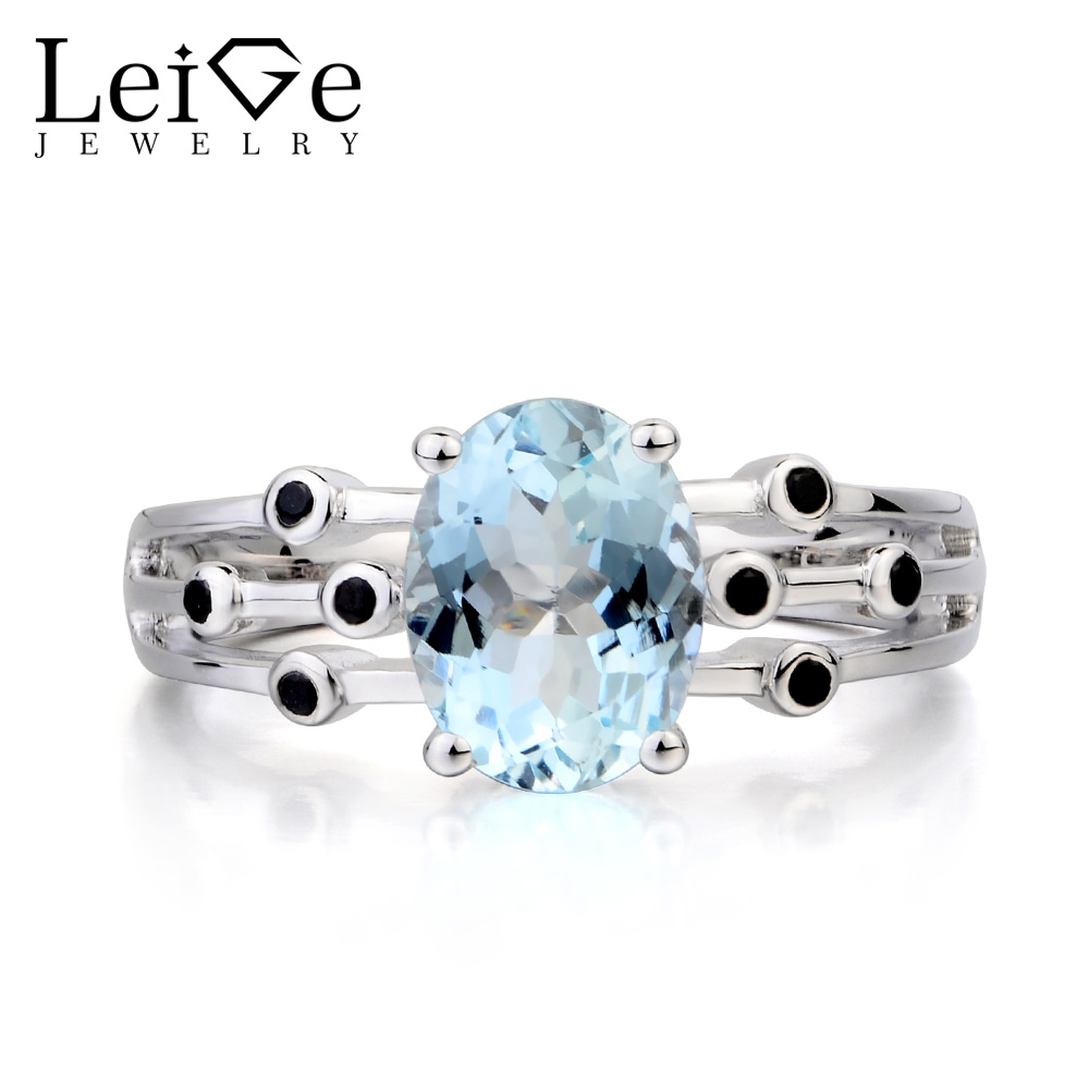 Leige Jewelry Engagement Ring Natural Aquamarine Ring March Birthstone Oval Cut Blue Gemstone 925 Sterling Silver Ring for WomenLeige Jewelry Engagement Ring Natural Aquamarine Ring March Birthstone Oval Cut Blue Gemstone 925 Sterling Silver Ring for Women