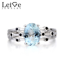 Leige Jewelry Engagement Ring Natural Aquamarine Ring March Birthstone Oval Cut Blue Gemstone 925 Sterling Silver Ring for Women