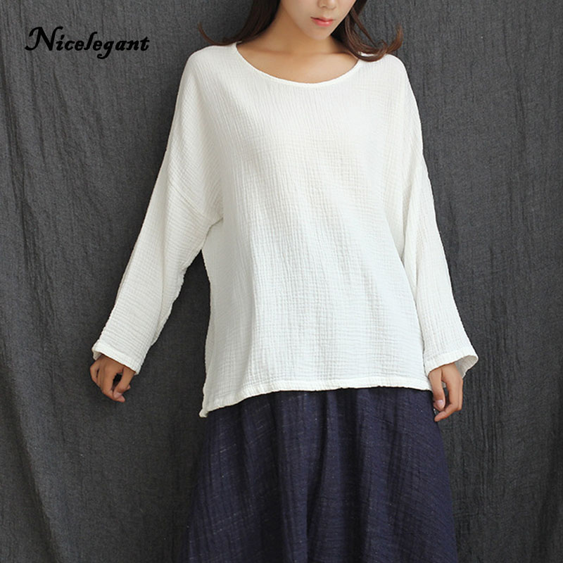 Nicelegant Long Sleeve O-Neck T shirt Women Solid Cotton Linen Batwing Sleeve Art Plus Size Loose Double Cotton Top Female Tee