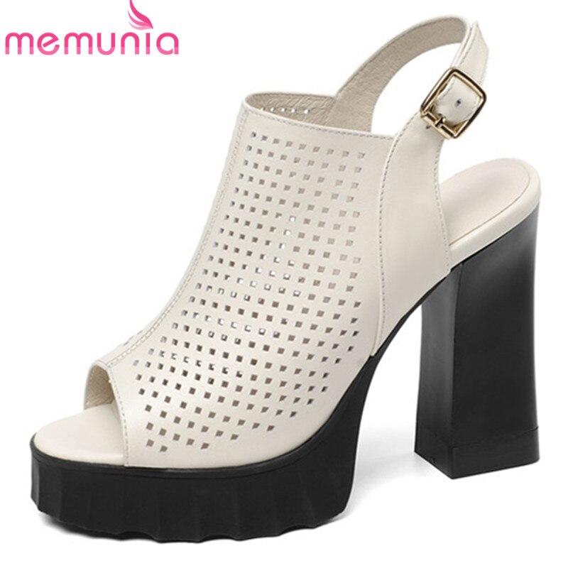 Femmes Sandales À noir Dames 2019 Semelles D'été Bal Memunia Compensées De Chaussures Femme Spartiates Pour Date Beige En Creusent Dehors Véritable Cuir vwONnm80