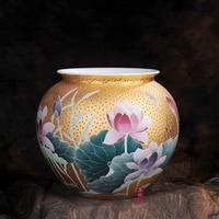 Jingdezhen ceramics underglazed five gold lotus jar vases crafts furniture living room decoration Home Furnishing
