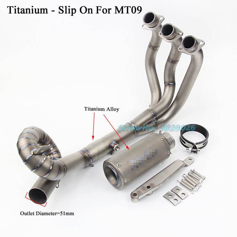 MT09 FZ09 Titanium Full System Slip On For Yamaha MT-09 FZ-09 Motorcycle Modified Muffler Exhaust Escape + Front Link Pipe Laser