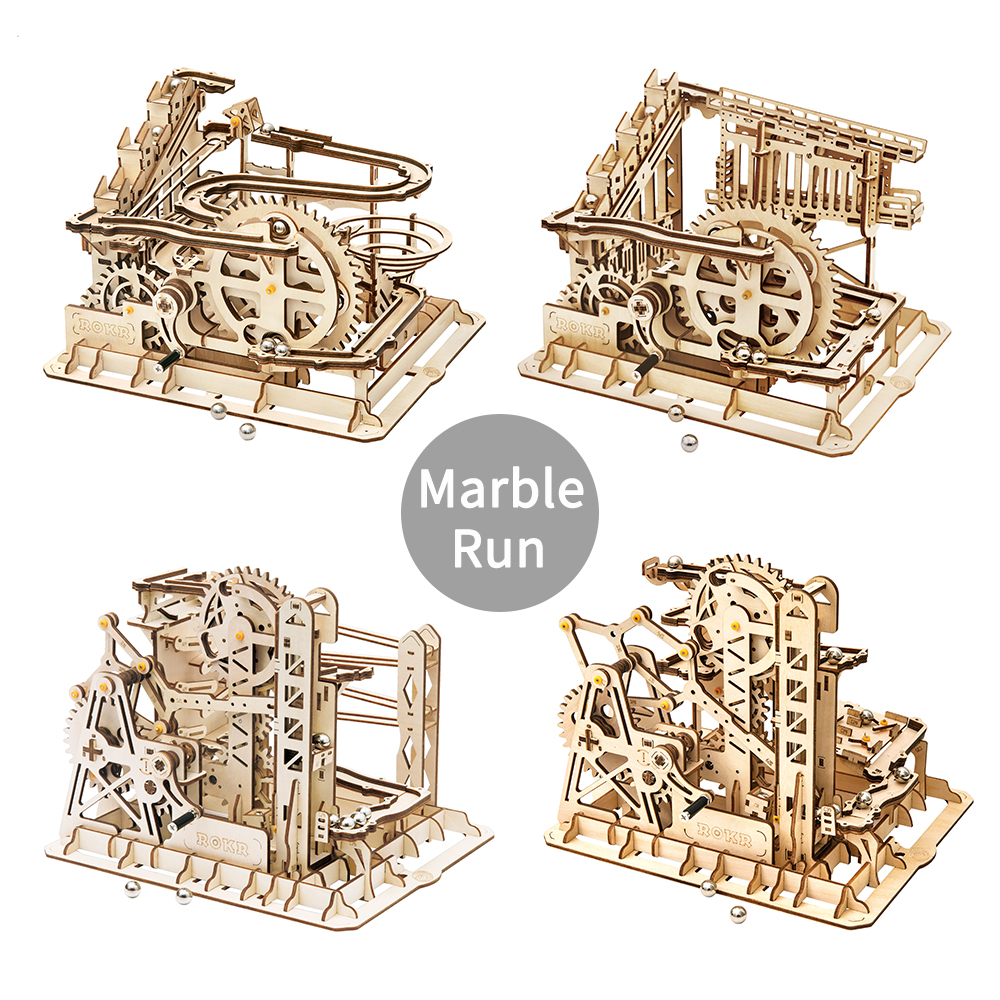 ROKR DIY 3D Wooden Puzzle Marble Run Game Mechanical Gear Drive Coaster Model Building Kits Toys for Children Drop Shipping