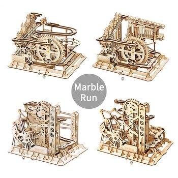 Robotime Marble Race Run laberinto bolas pista DIY 3D rompecabezas de madera montaña modelo de construcción Kits de juguetes para niños Drop Shipping