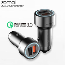 70mai usb aux  QC3.0 Fast charge Dual USB Car Charger 70 mai usb 12v-24v car adapter charger Android iOS for iPhone car usb waterproof charger dual usb 12v 24v 3 1a ship type dual usb car charger voltmeter adapter for samsung iphone