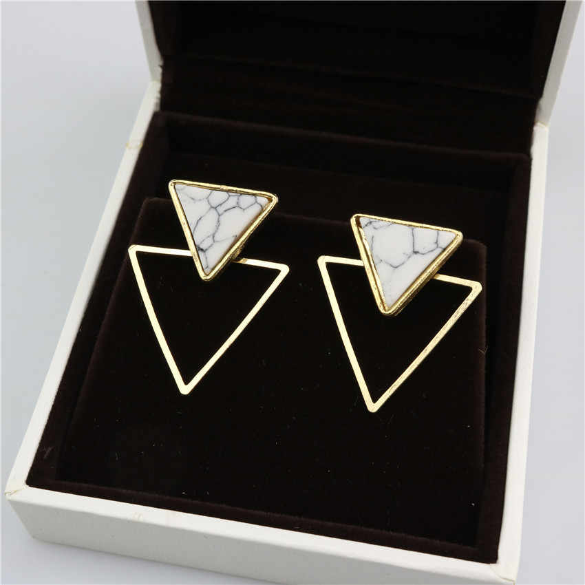 New Brand Punk Design Fashion Square Triangle Round Geometric Faux Stone Stud Earring Women Party Jewelry drop shipping