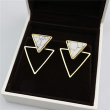 New Brand Punk Design Fashion Square Triangle Round Geometric Faux Stone Stud Earring Women Party Jewelry drop shipping(China)