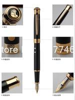 Gratis verzending groothandel school kantoorbenodigdheden pen Picasso Luxe Black & gold M nib vulpen hoge kwaliteit schrijfpen