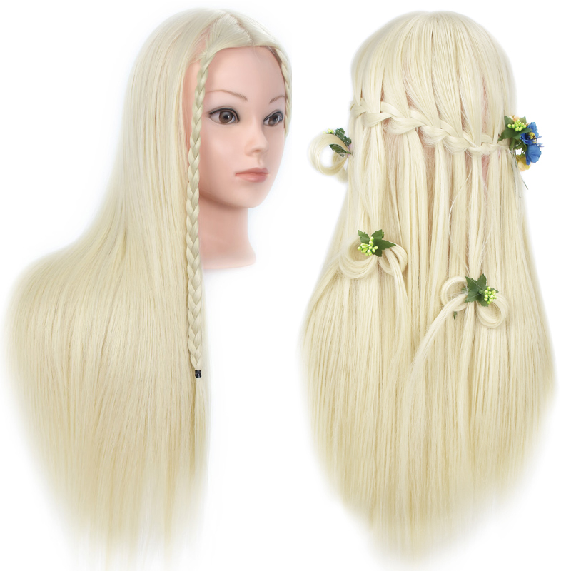 26inch Hairdressing Dolls Head Female Mannequin Training Head for Hair Styling Practice Dummy Head Practice Model for Braiding