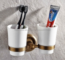 Bathroom Accessory Wall Mounted Antique Brass Toothbrush Holder with Two Ceramic Cups Nba275 european style double cup holder toothbrush holder with ceramic cups antique brass solid brass rack tumbler holder wall mounted