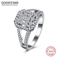 Ring Real Solid 925 Silver Jewelry Engagement Wedding Rings For Women AAA Cubic Zirconia Sterling Silver