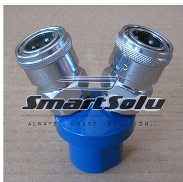free shipping PNEUMATIC 1/4 BSPT Female 2 Way Air Hose Quick Coupler Socket Connector silver tone sky blue piping fitting 5 way air hose multi pass quick coupler sml 5