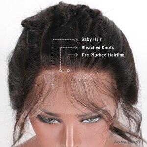 Image 5 - LUFFYHAIR Kinky kıvırcık ipek taban dantel ön peruk orta kısmı 150% yoğunluk brezilyalı Remy saç ipek üst dantel ön İnsan saç peruk