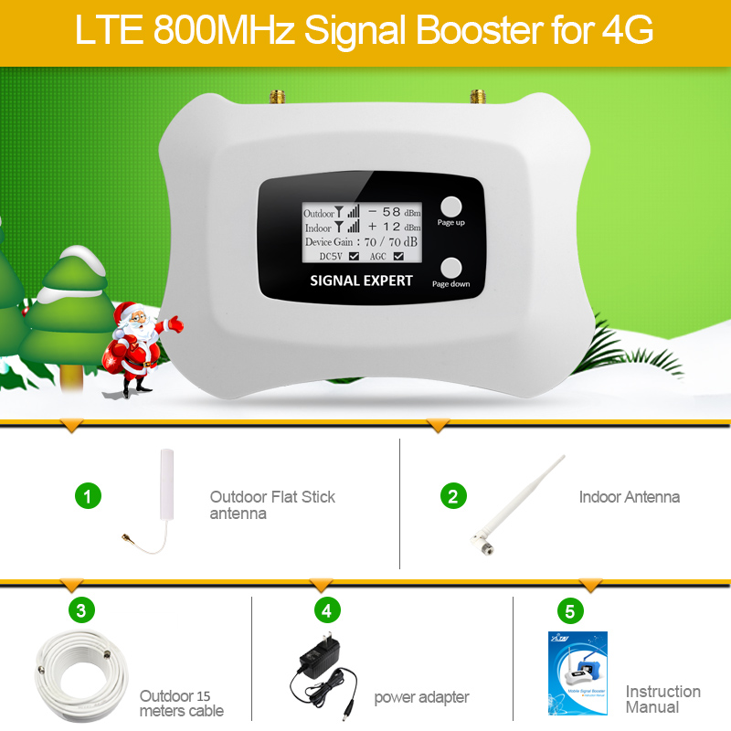 Hot Sale LTE 800MHz LTE 4G Mobile Signal Booster Smart Cellular Phone Amplifier 4G Repeater for
